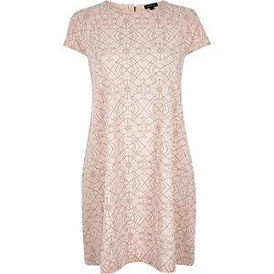 Pink metallic jersey swing dress