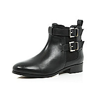 Black leather double buckle Chelsea boots