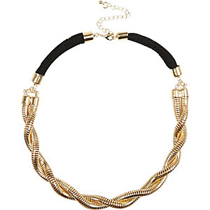 Black gold tone plaited chain necklace