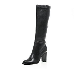 Black leather knee high heeled boots
