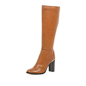 Light brown leather knee high heeled boots