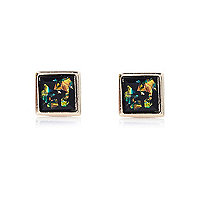 Green flecked square stud earrings