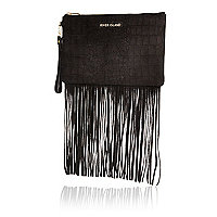 Black snake print suede fringed clutch bag