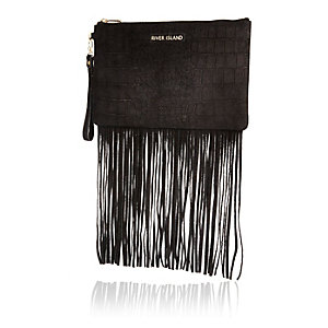 Black snake print leather fringed clutch bag