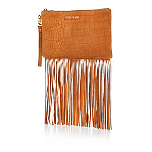 Orange suede fringed clutch