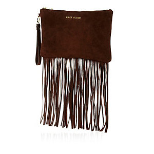 Brown leather fringed clutch bag