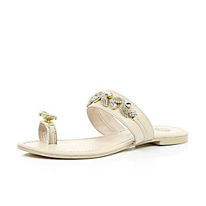 Light pink gem embellished sandals