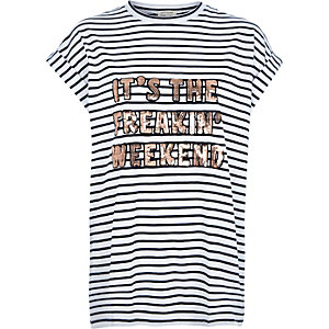 White stripe sequin weekend oversized t-shirt