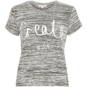 Grey marl create print fitted t-shirt