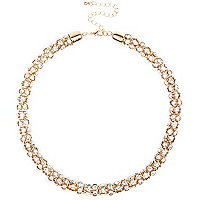 Gold tone diamante short rope necklace
