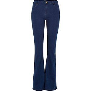 Bright mid blue wash Brooke flare jeans