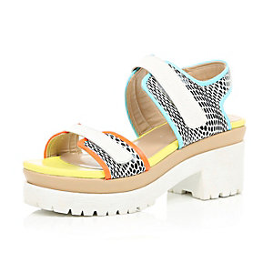 White chunky colour block sandals