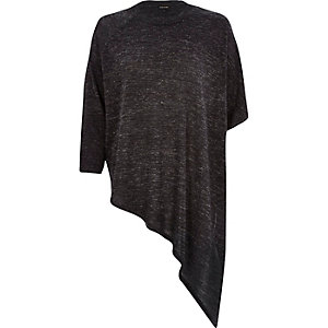 Dark grey asymmetric metallic knitted top