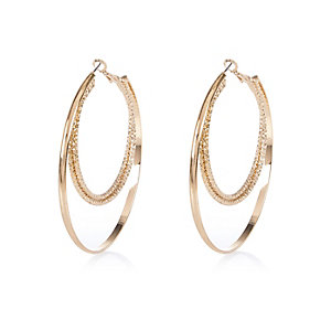 Gold tone textured two row hoop earrings