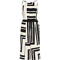 White stripe strappy wide leg jumpsuit