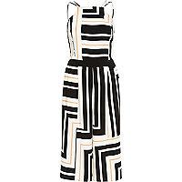 White stripe strappy wide leg jumpsuit