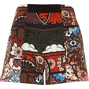 Red paisley print high waisted shorts