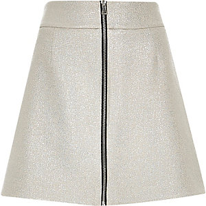 Silver zip-up A-line skirt