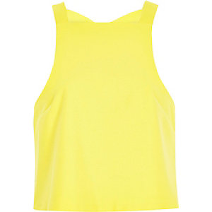 Yellow cut out back crop top