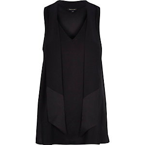 Black V-neck pussybow vest