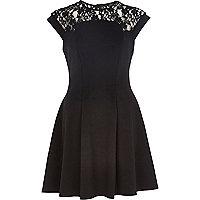 Black lace top skater dress