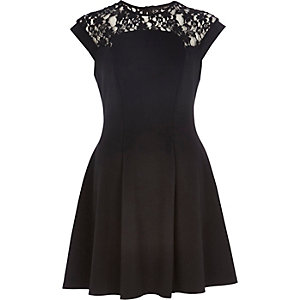 Black lace top skater dress
