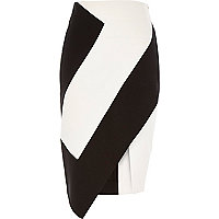 Black spliced scuba wrap skirt