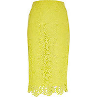 Yellow lace midi pencil skirt
