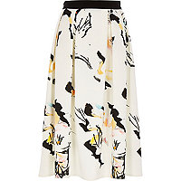 White printed scuba midi skirt