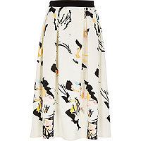 White printed scuba midi skirt