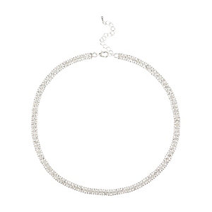 Silver tone diamante sparkle choker necklace