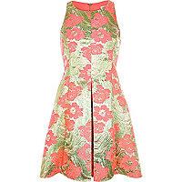 Pink floral jacquard skater prom dress