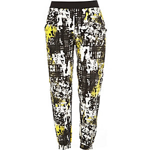 Yellow printed jersey joggers