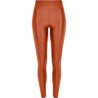 Orange coated high waisted leggings