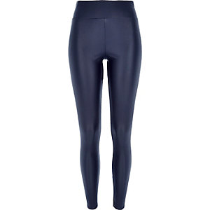 Navy coated high waisted leggings