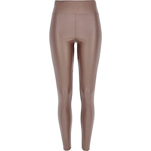 Light brown coated high waisted leggings