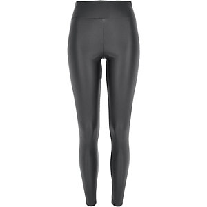 Dark grey coated high waisted leggings