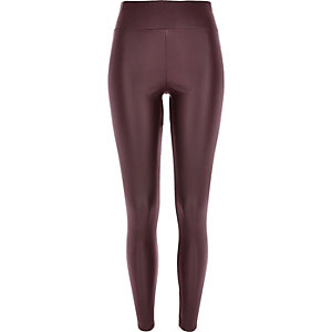 Dark purple coated high waisted leggings