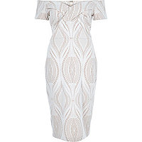 Light pink lace bardot bodycon midi dress