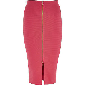 Pink zip front pencil skirt