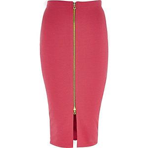 Pink zip front pencil skirt