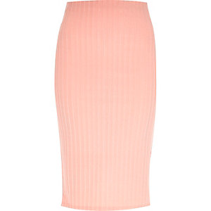 Light pink luxe ribbed pencil skirt