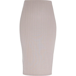 Silver ribbed pencil skirt