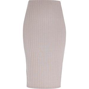 Silver ribbed pencil skirt
