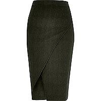 Khaki textured wrap front pencil skirt