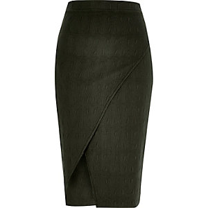 Khaki textured wrap front pencil skirt