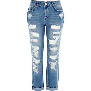 Mid wash ripped ultimate boyfriend jeans
