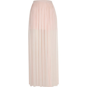 Light pink pleated thigh split maxi skirt