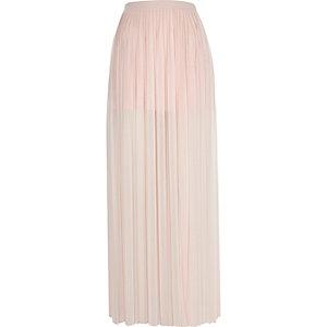 Light pink pleated thigh split maxi skirt