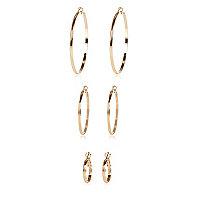 Gold tone hoop earrings 3 pack